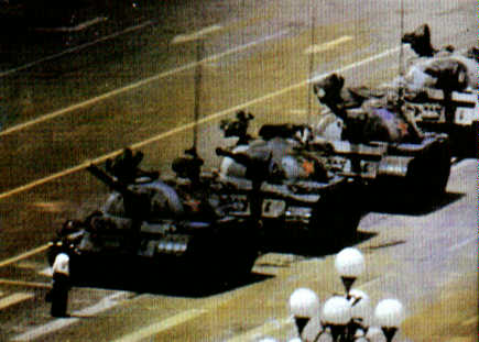 A man stops a column of tanks during the Tiananmen Square crisis
