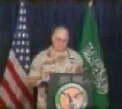 General Norman Schwarzkopf. During this moment in the video, the voiceover is talking about Haramain Sharifain - Saudi Arabia
